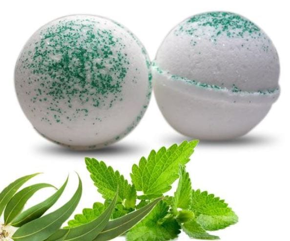 Eucalyptus and peppermint bath bomb essential oil for healing and great fragrance