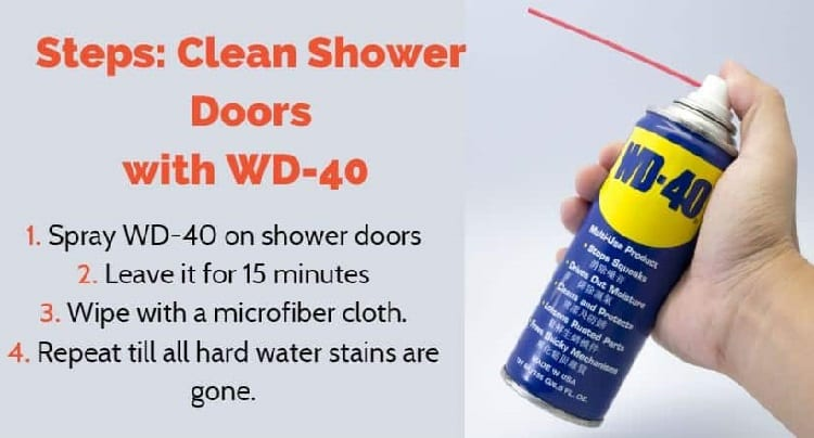 How to clean shower doors with WD-40 - steps