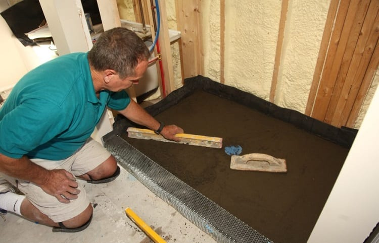 installation of shower pan