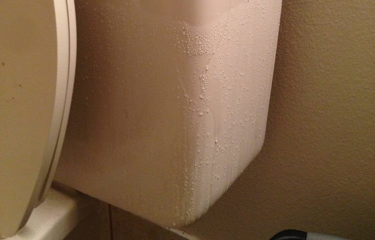 water condesation on toilet tank